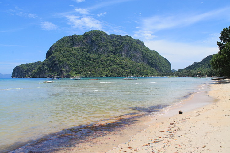 Corong Corong beach on a sunny day, one of the beaches of El Nido, Palawan, The Philippines