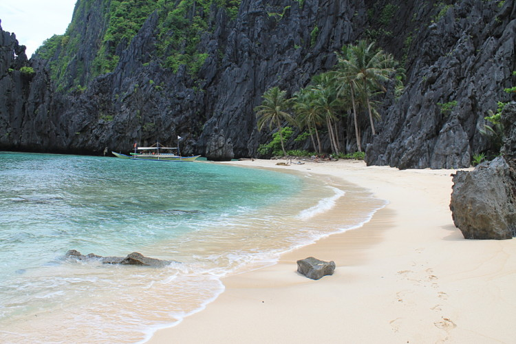 A beach during an island hopping in El Nido tour in Palawan, The Philippines