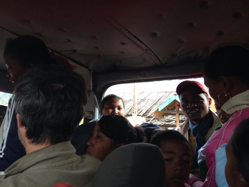 A crowded bus in Madagascar