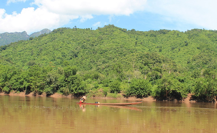 A boat on the Nam Ou River from Nong Khiaw to Muang Ngoi, Laos