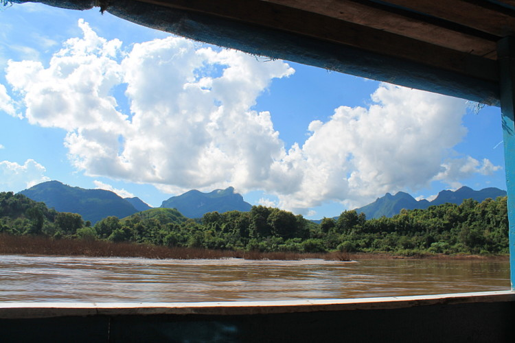 View from the window of the boat from Nong Khiaw to Muang Ngoi