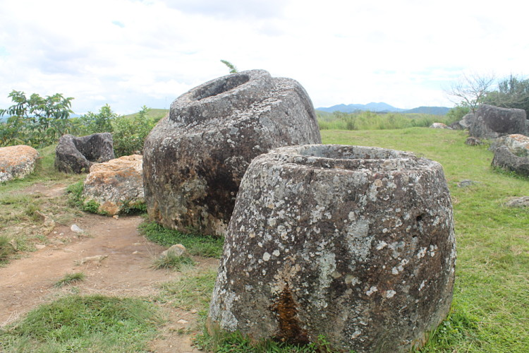Big jars at site 1 of the Plain of Jars in Phonsavan, Laos
