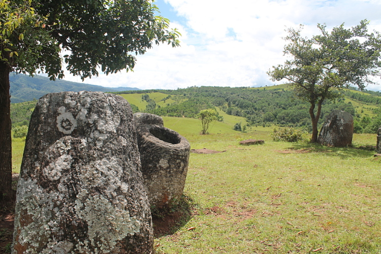 The jars at Plain of Jars site 2 in Phonsavan, Laos
