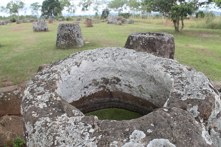 A jar full of water at site 1, the Plain of Jars in Phonsavan, Laos