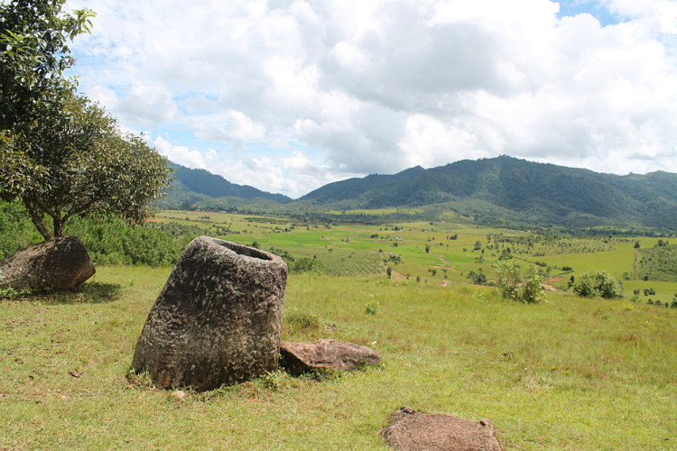 Jar site 2 of the Plain of Jars in Phonsavan, Laos