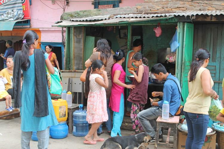 A food stall on the streets of Kathmandu, Nepal