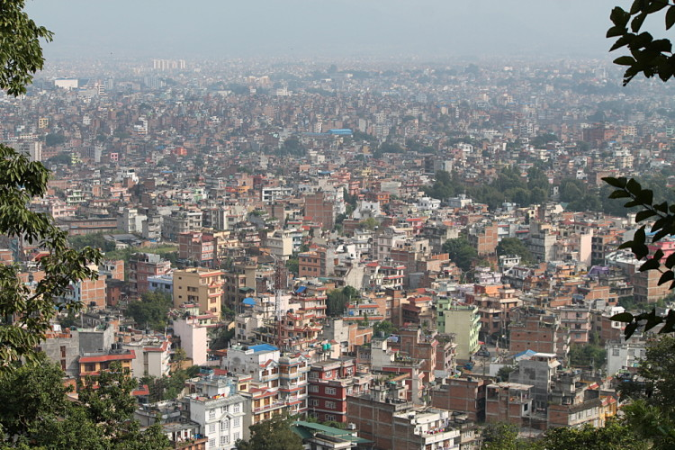The streets of Kathmandu, Nepal from the monkey temple