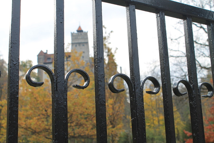 Looking through the gate at Bran Castle in Transylvania, Romania t