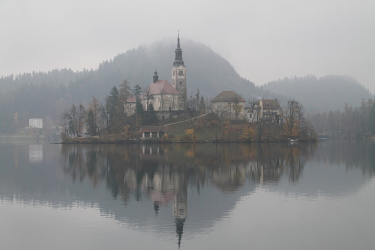 The church on the island in Lake Bled, Slovenia