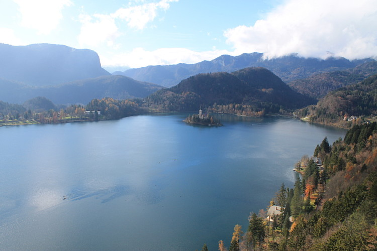 The view of Lake Bled from Bled Castle, Slovenia