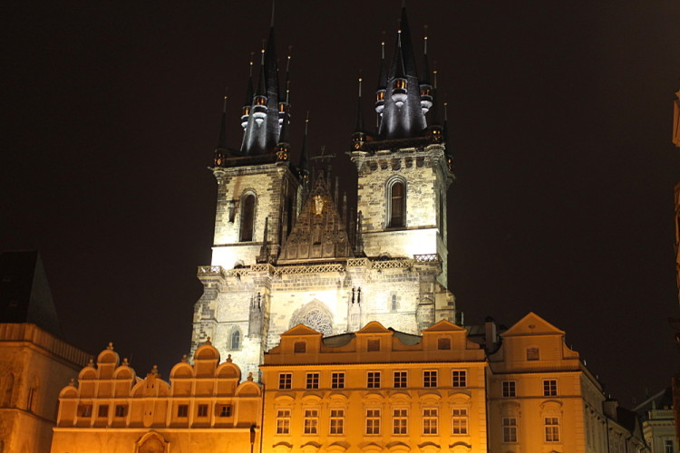 Exploring Prague - the Old Town Square at night