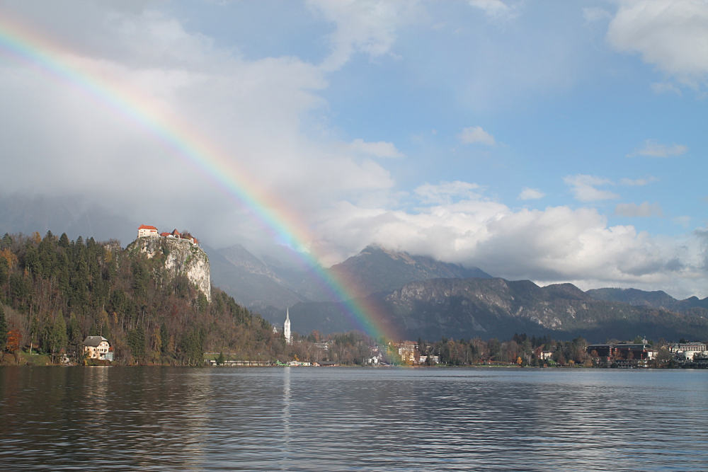 A rainbow over Lake Bled, Slovenia