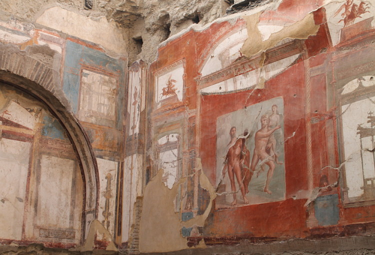 Ancient frescoes in Herculaneum, part of a day trip to Pompeii and Herculaneum in Italy