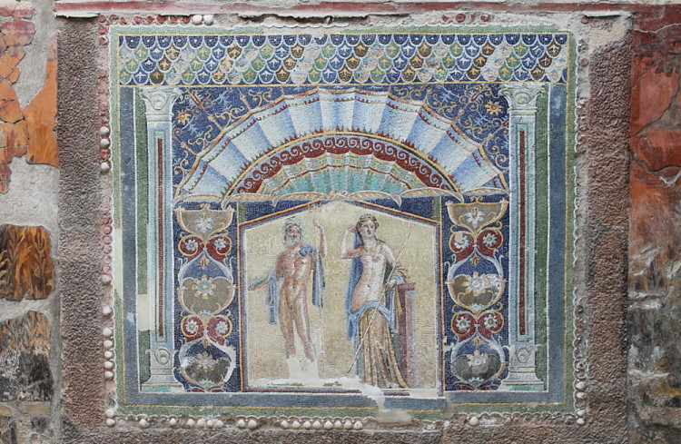 An ancient painting in Herculaneum - during a day trip to Pompeii and Herculanuem