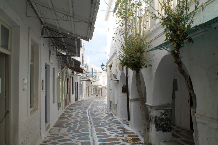 A street in Parikia old town, Paros, the Greek islands