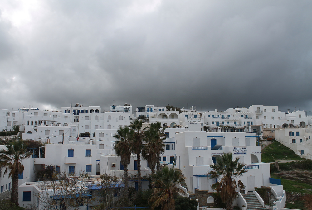 White houses in Naousa, Paros, Greece