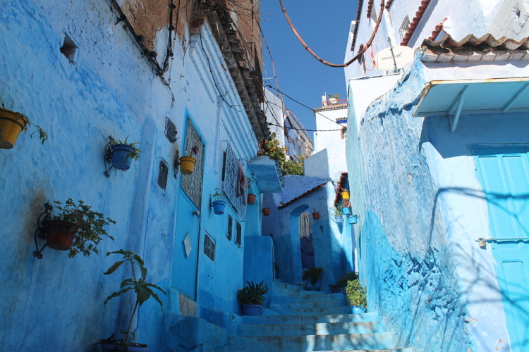 A street in Chefchaouen, the blue town in Morocco