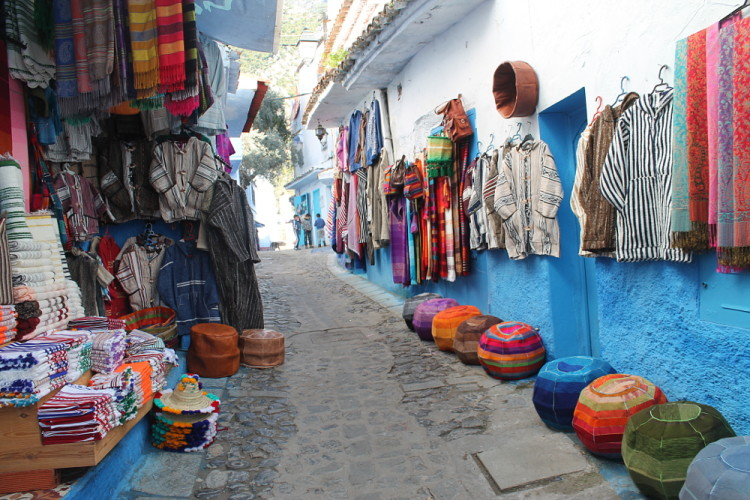 Shops in Chefchaouen, the blue town in Morocco