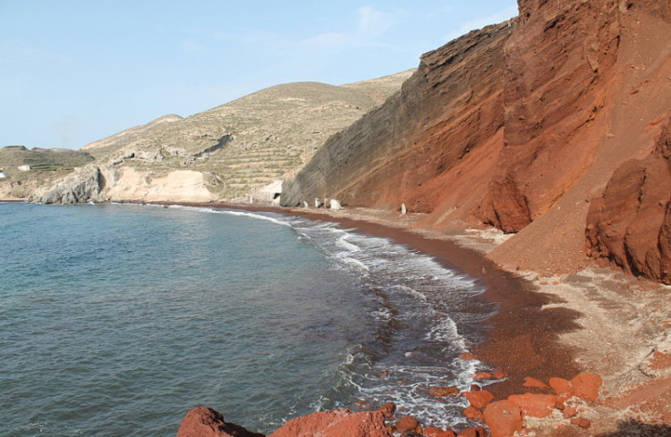 Greek islands in winter - Red Beach, Santorini
