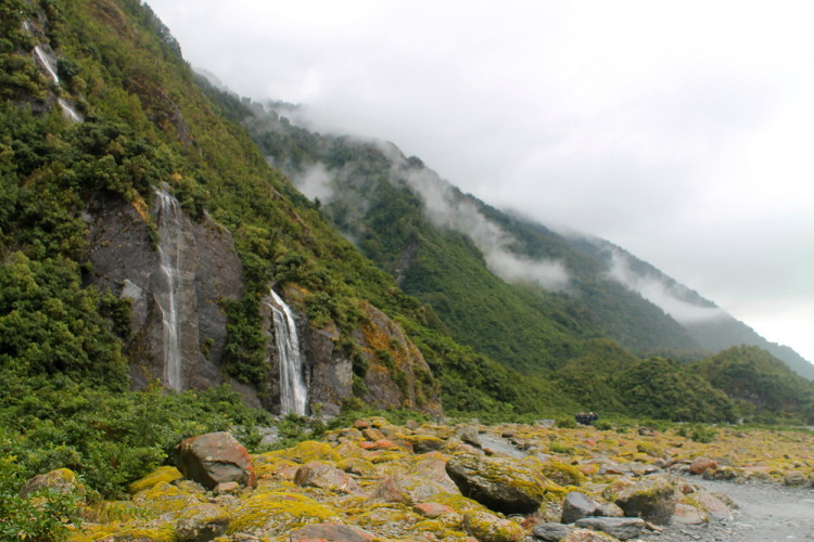 A waterfall near Franz Josef Glacier