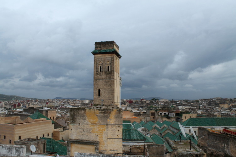 The rooftops of the oldest university in the world in the medina in Fez, Morocco