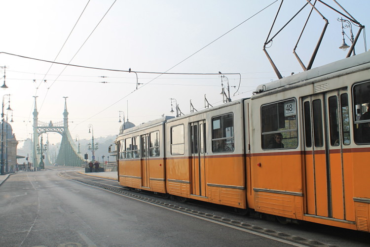 A yellow tram in Budapest, Hungary