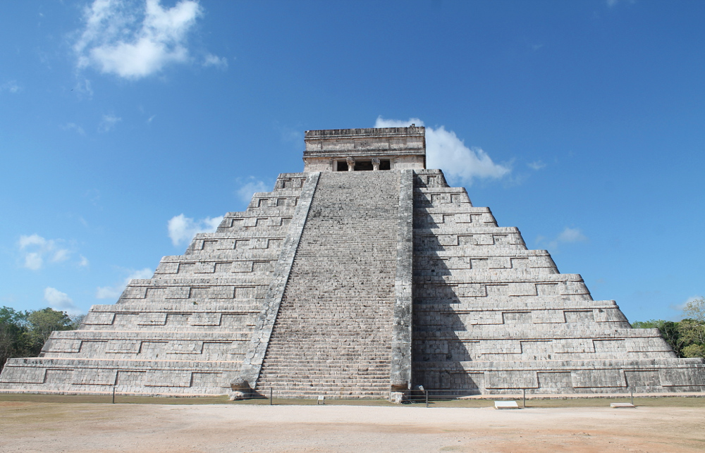 The main pyramid at Chichen Itza, Mexico
