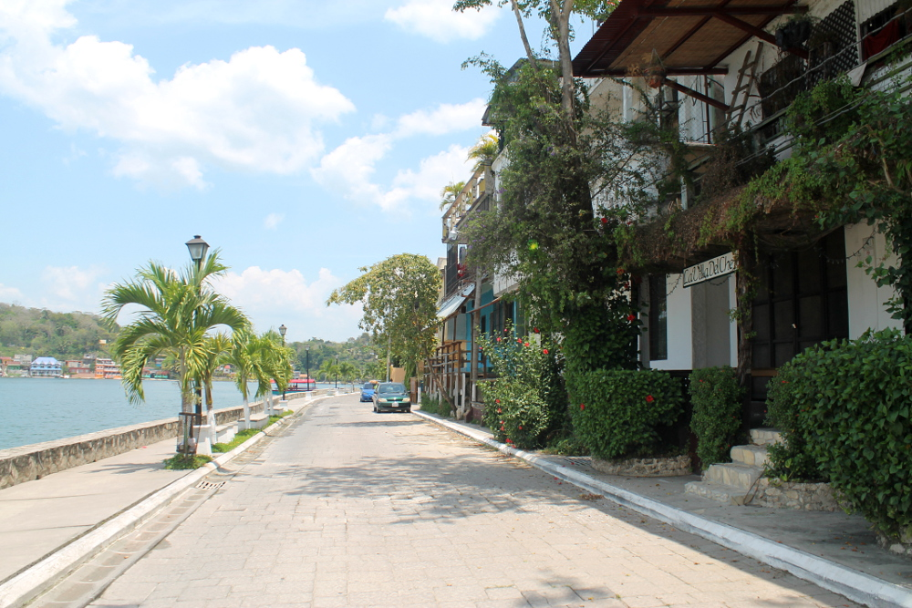 The lakefront in Flores, Guatemala