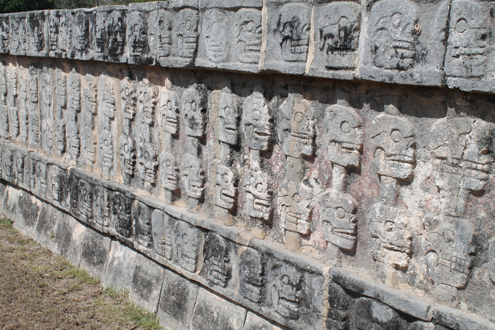 A wall of skulls at Chichen Itza, Mexico - one of the 7 wonders of the world