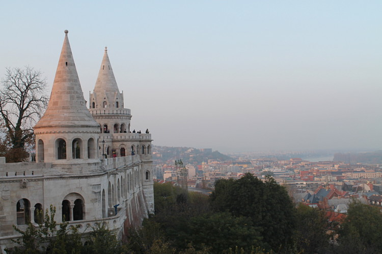 Fishermans' Bastion at sunset in Budapest, Hungary