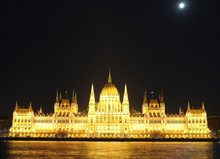 The Parliament building in Budapest, Hungary at night
