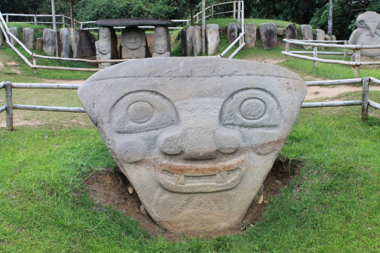 A smiling statue in San Agustin, Colombia