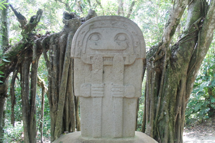A statue in the forest near San Agustin, Colombia