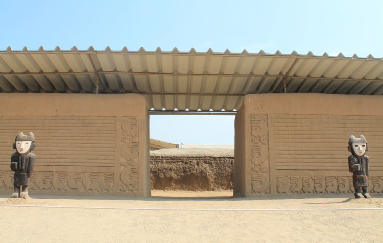 Desert ruins in northern Peru: Chan Chan city walls
