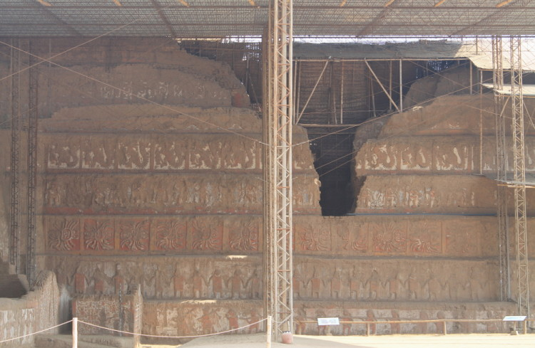 Desert ruins in northern Peru: Huaca de la Luna carvings