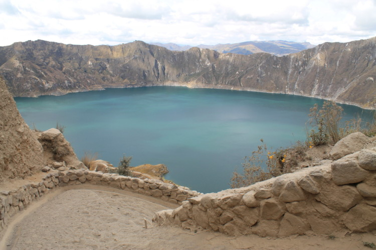 Walking down to the edge of Laguna Quilotoa, Ecuador