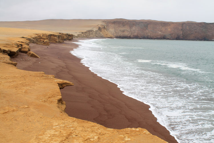 Playa Roja, the red beach, in Paracas Natural Reserve, Peru
