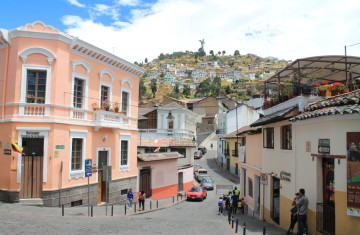 Walking the streets of Quito old town, Ecuador: