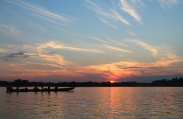 sunset in the Amazon in Ecuador