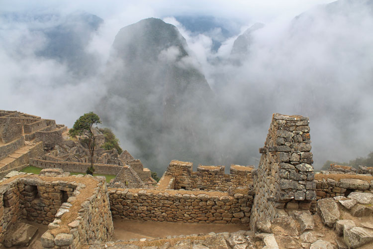 Stone buildings at Machu Picchu, Peru
