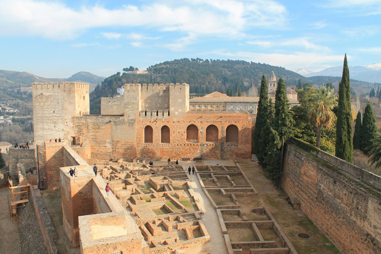 The Alhambra from above in Granada, Spain