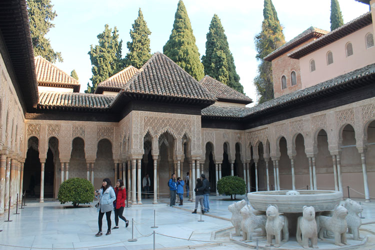 courtyard at the Alhambra, Granada, Spain