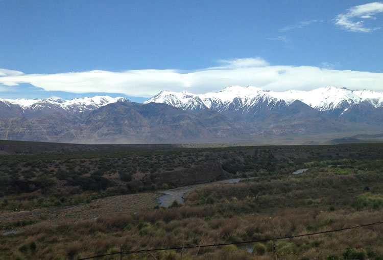 Buenos Aires to Santiago by bus: The Andes mountains from the bus