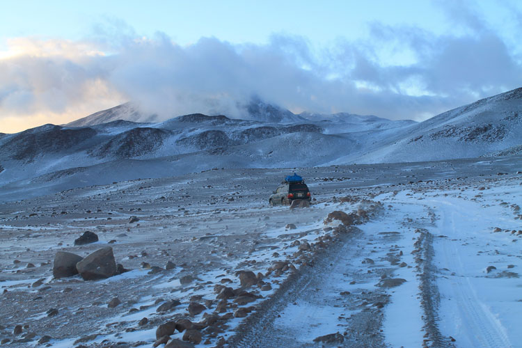 Uyuni salt flat tour, Bolivia: Snow near the geysers