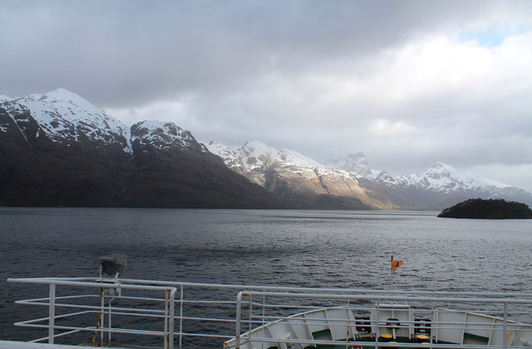 A budget cruise through Patagonia on the Navimag ferry from Puerto Montt to Puerto Natales: The Eden heading through a scenic channel