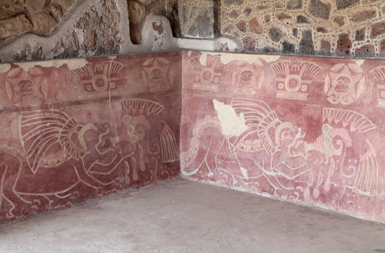 Teotihuacan, pyramids near Mexico City: A colourful mural