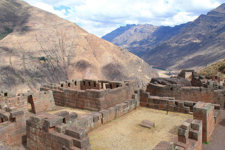 Stone buildings at Pisac, Peru