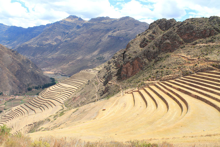 Terraces at Pisac - Inca ruins in the Sacred Valley, Peru
