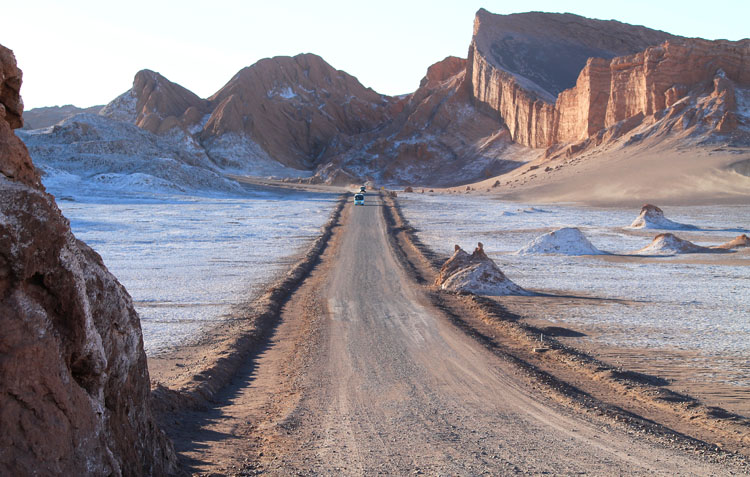 The Valley of the Moon (Valle de la Luna) in Chile -- a road through the valley