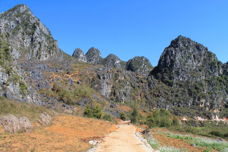 Hiking in Dong Van, Vietnam -- limestone mountains